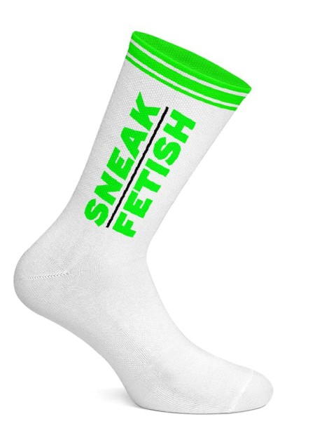 Sneak Freaxx Sneak Fetish Socks White Neon Green One Size