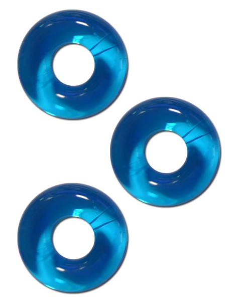 Sport Fucker Chubby Rubber 3-pc Cockring-Set Ice Blue